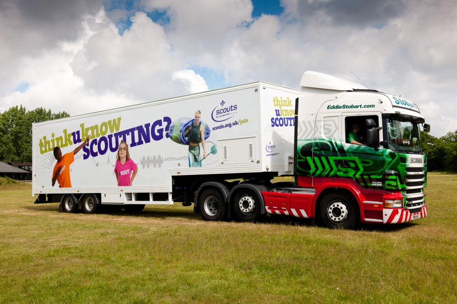 The Scouts trailer with an Eddie Stobart truck