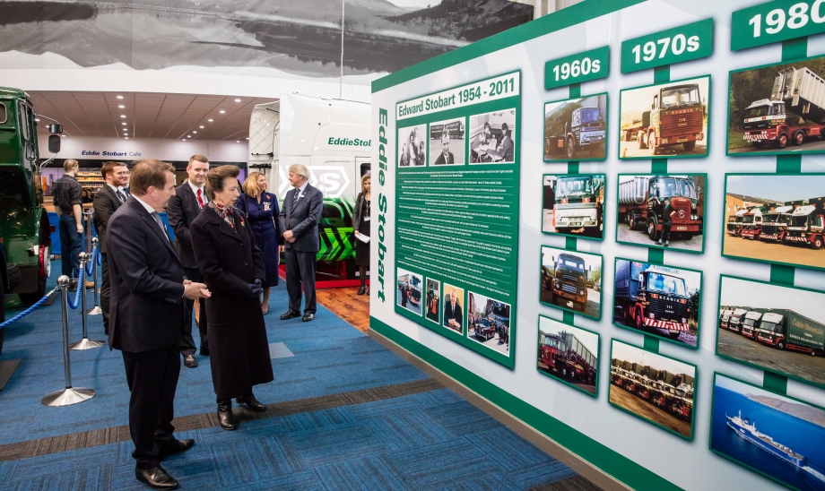The Princess Royal and Executive Chairman William Stobart review the company's history