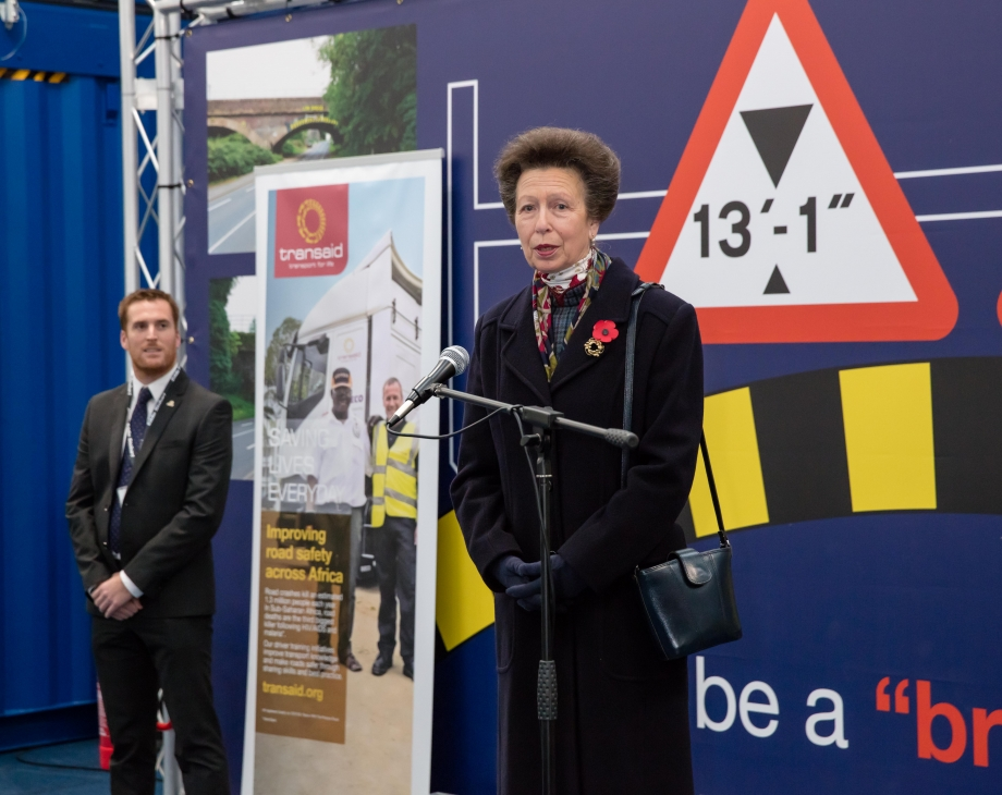 The Princess Royal makes a speech commending both Eddie Stobart and Transaid